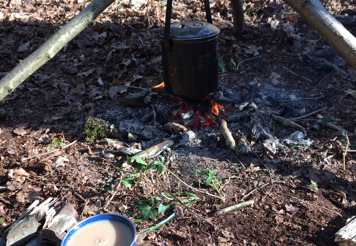 A pot of tea being made over a fire in the woods